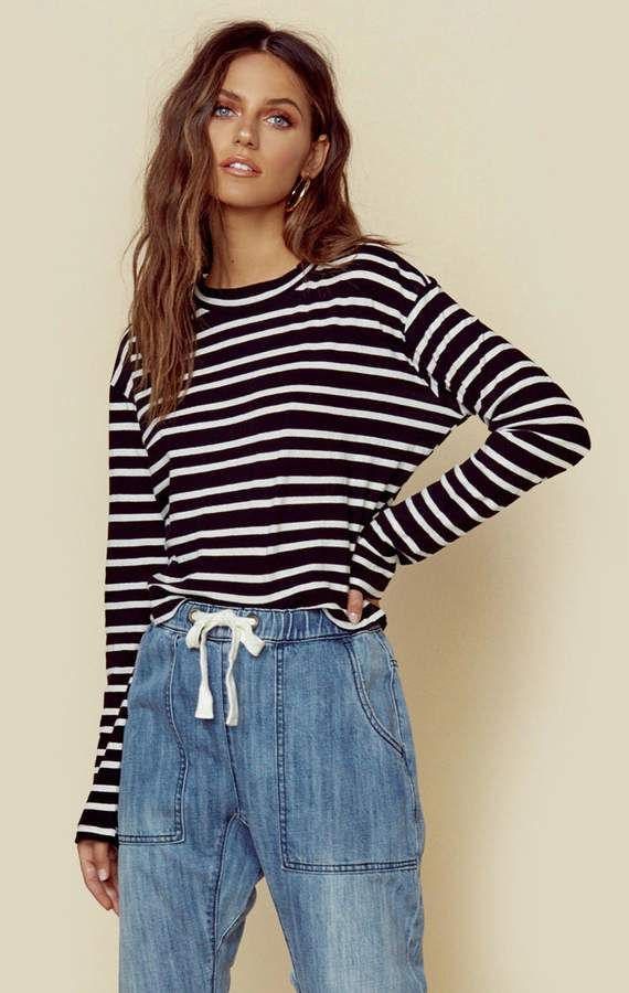0e834f26 Honey stripe long sleeve tee - black with white stripe / xs in 2019 ...