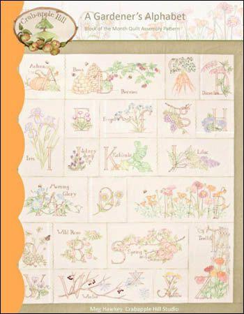 580 A Gardeners Alphabet by Crabapple Hill Hand Embroidery Quilt ... : hand embroidery quilt patterns - Adamdwight.com