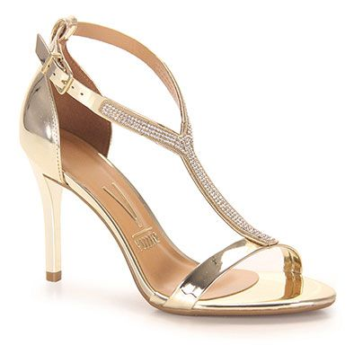 c8238f297 Sandália Salto Feminina Vizzano - Dourado(A) | Sapatos | Saltos ...