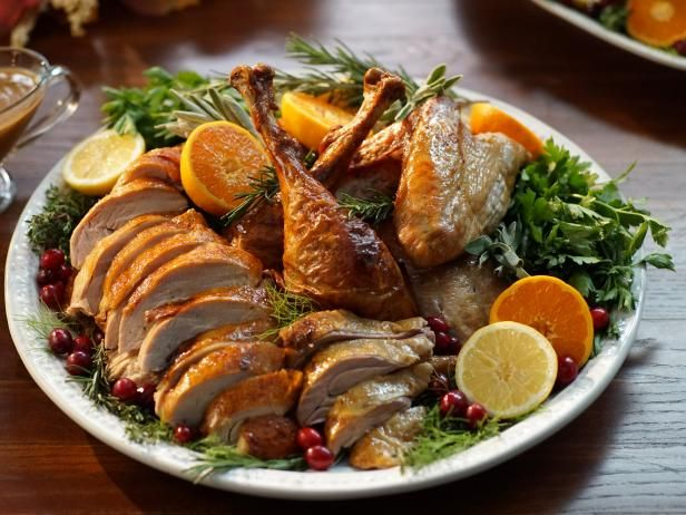 Fennel and citrus roasted turkey with gravy recipe roasted meat get fennel and citrus roasted turkey with gravy recipe from food network forumfinder Images