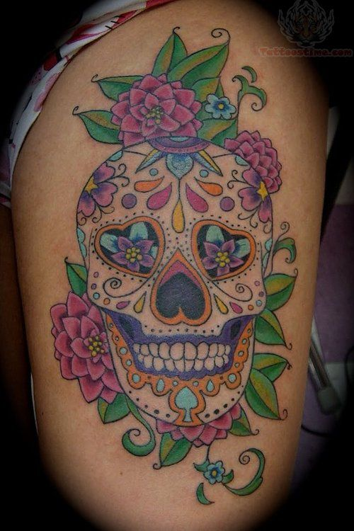 Feminine Sugar Skull Tattoo Designs Flowers And Sugar Skull Tattoo On Biceps Candy Skull Tattoo Sugar Skull Tattoos Skull Tattoo Design