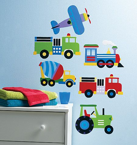 wallies® peel & stick vinyl wall art. olive kids trains planes and