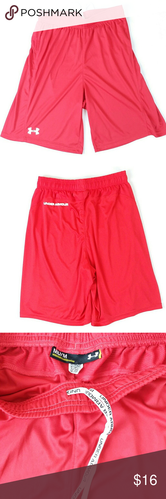 016c17af3 Under Armour Men's Red Drawstring Basketball Athletic Shorts. They are loose  fit and stretch. They wick sweat and dry fast. Size M Measurements ...