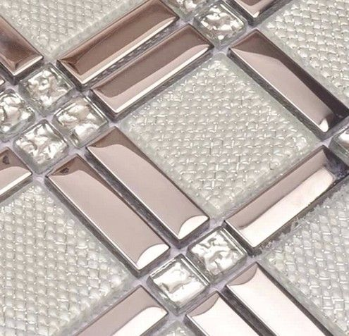 White Glass Mixed Silver Stainless Steel Mosaic And Diamond For