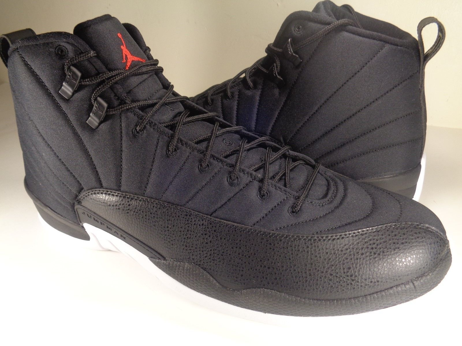 Nike Air Jordan 12 XII Retro Black Nylon Neoprene Red White SZ 15 (130690-