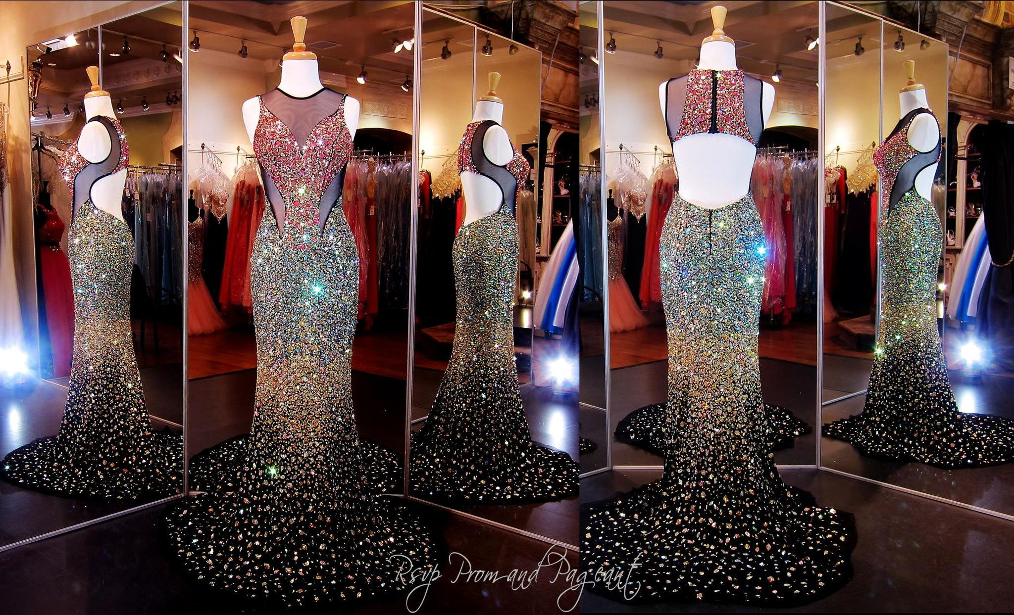 Gold Black Ombre Prom Dress-multicolored stones-Open Back-High ...