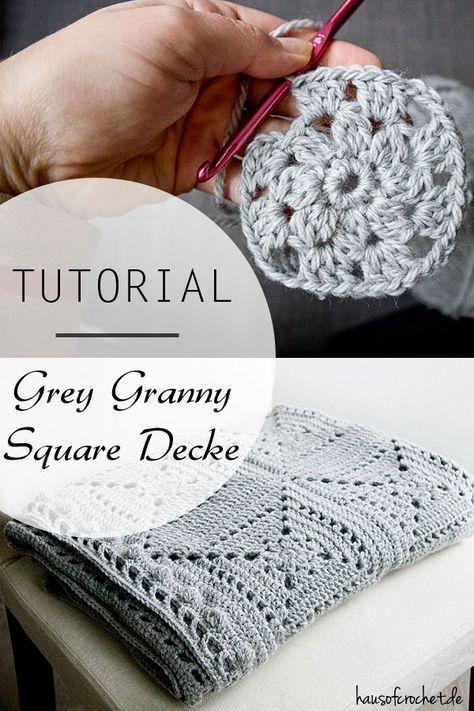Tutorial: Grey Granny Square Decke | MOTIFIA 2 | Pinterest | Mantas ...