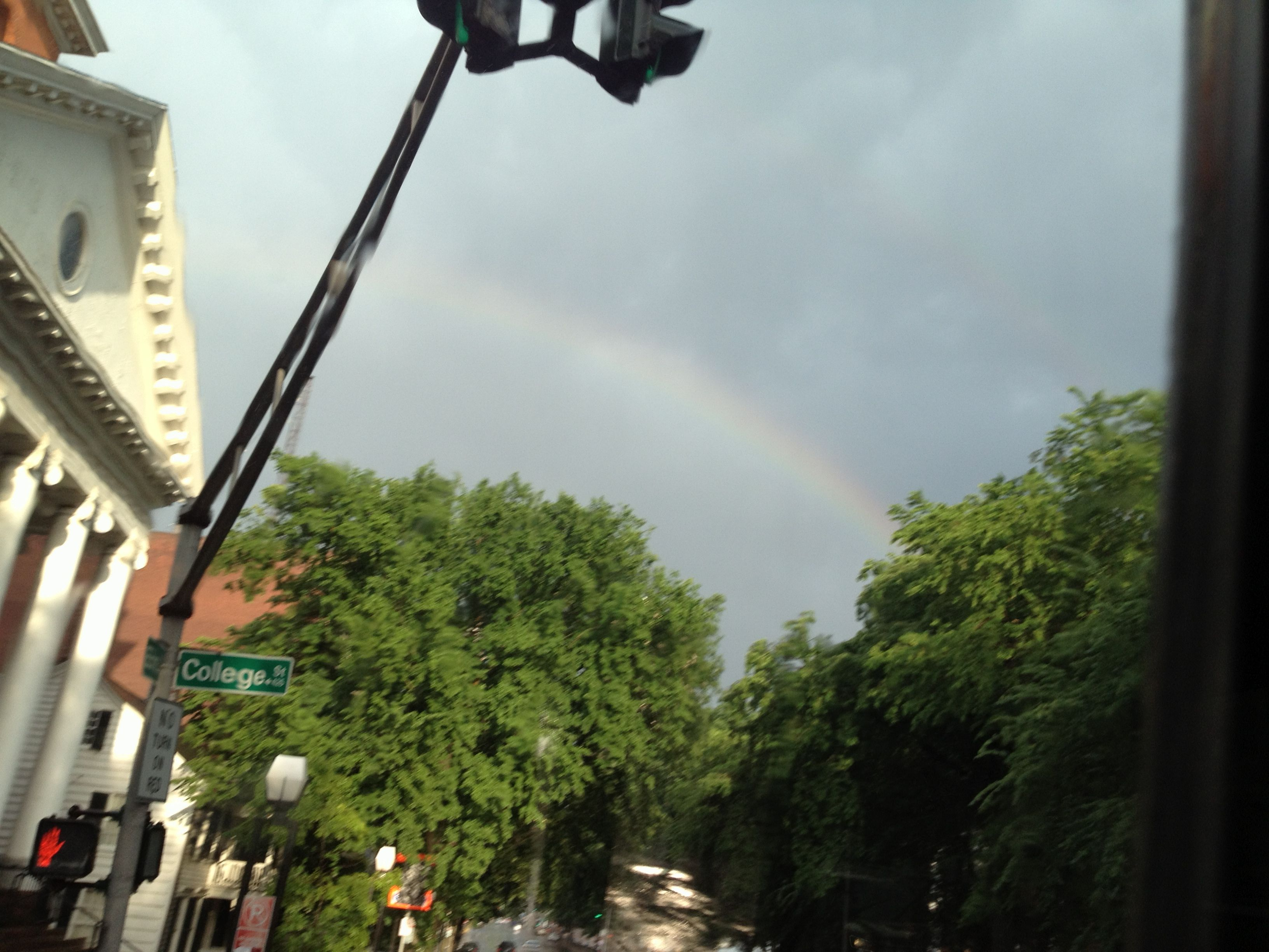 Rainbow sighting at College and Elm in the Elm City 6/17/2013