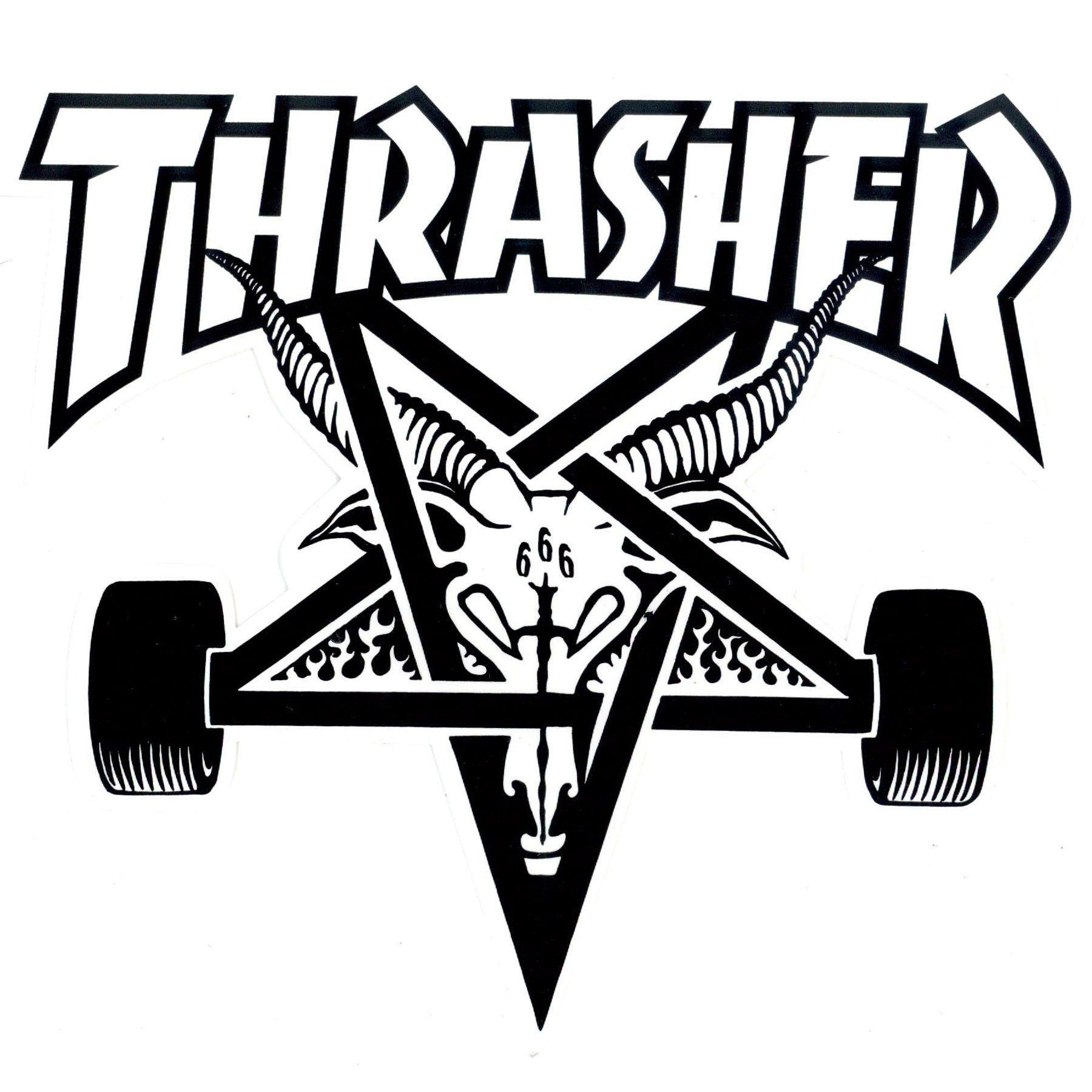 Thrasher Sk8 Goat Large Sticker White 2 Jpg 1800 1800 Goat Logo Skateboard Tattoo Thrasher Skate
