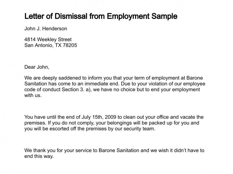 Printable Sample Termination Letter Sample Form Letter