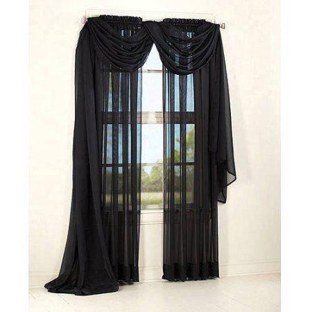 Mainstays Marjorie Sheer Voile Curtain Single Panel Walmart Com Goth Home Decor Dark Home Decor Goth Home