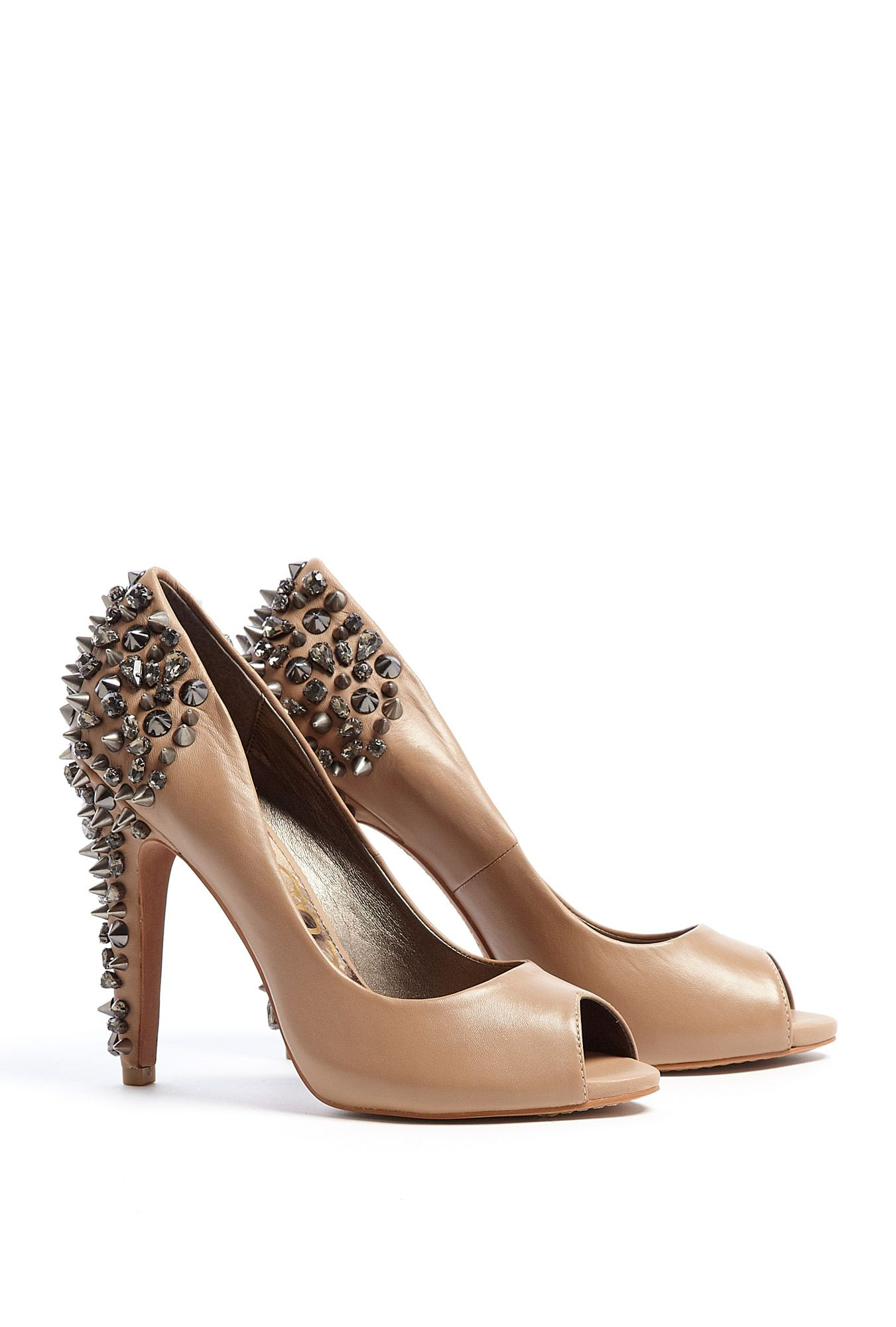 54b3da899 Nude Lorissa Peeptoe Court Shoe with Studded Heel by Sam Edelman ...