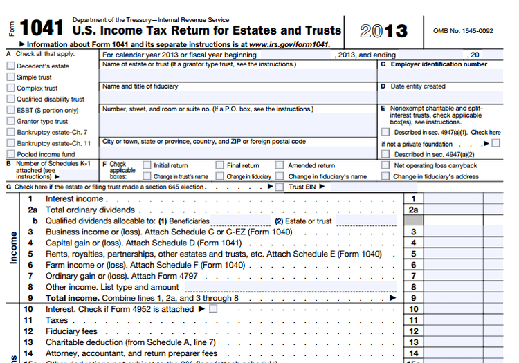 What Is Form 1041 For Revocable Living Trusts Revocable Living Trust Irs Forms Living Trust