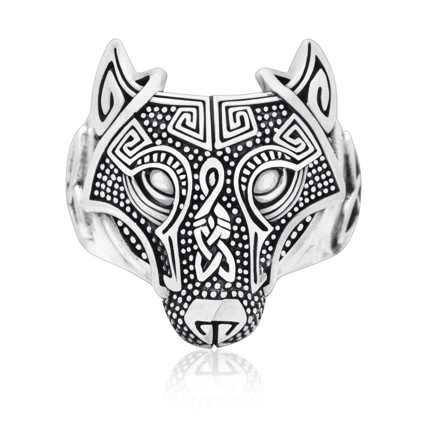925 Sterling Silver Wolf Head Viking Ring