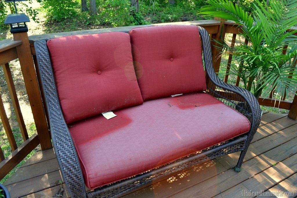 Faded Chair Cushions Refreshed With Spray Paint Outdoor Furniture Cushions Patio Furniture Cushions Outdoor Chair Cushions