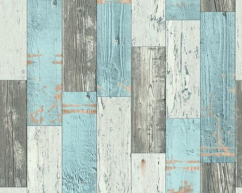 AS Creation Wallpaper - Scrapwood Blue and Grey - 96246-1