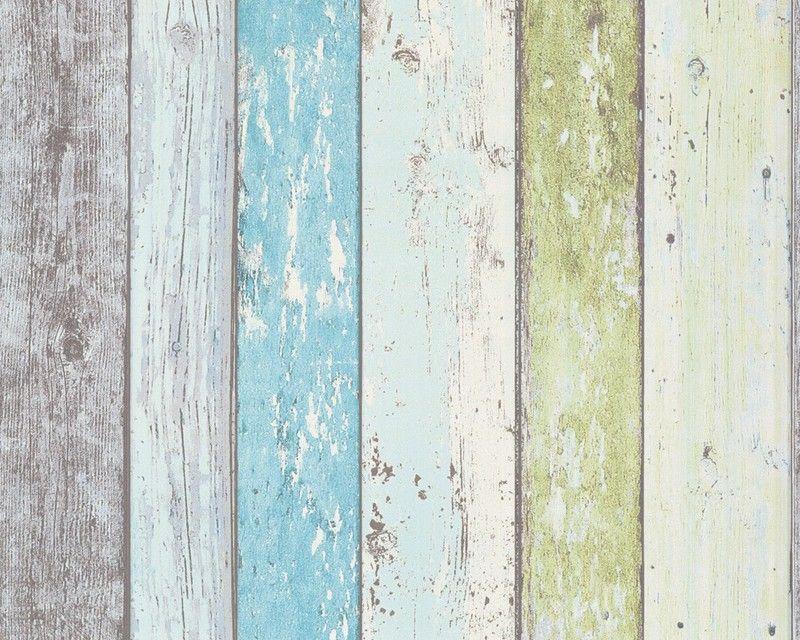 Vinyl Steigerhout Look : Steigerhout vliesbehang blauw groen bij behangwebshop stacaravan