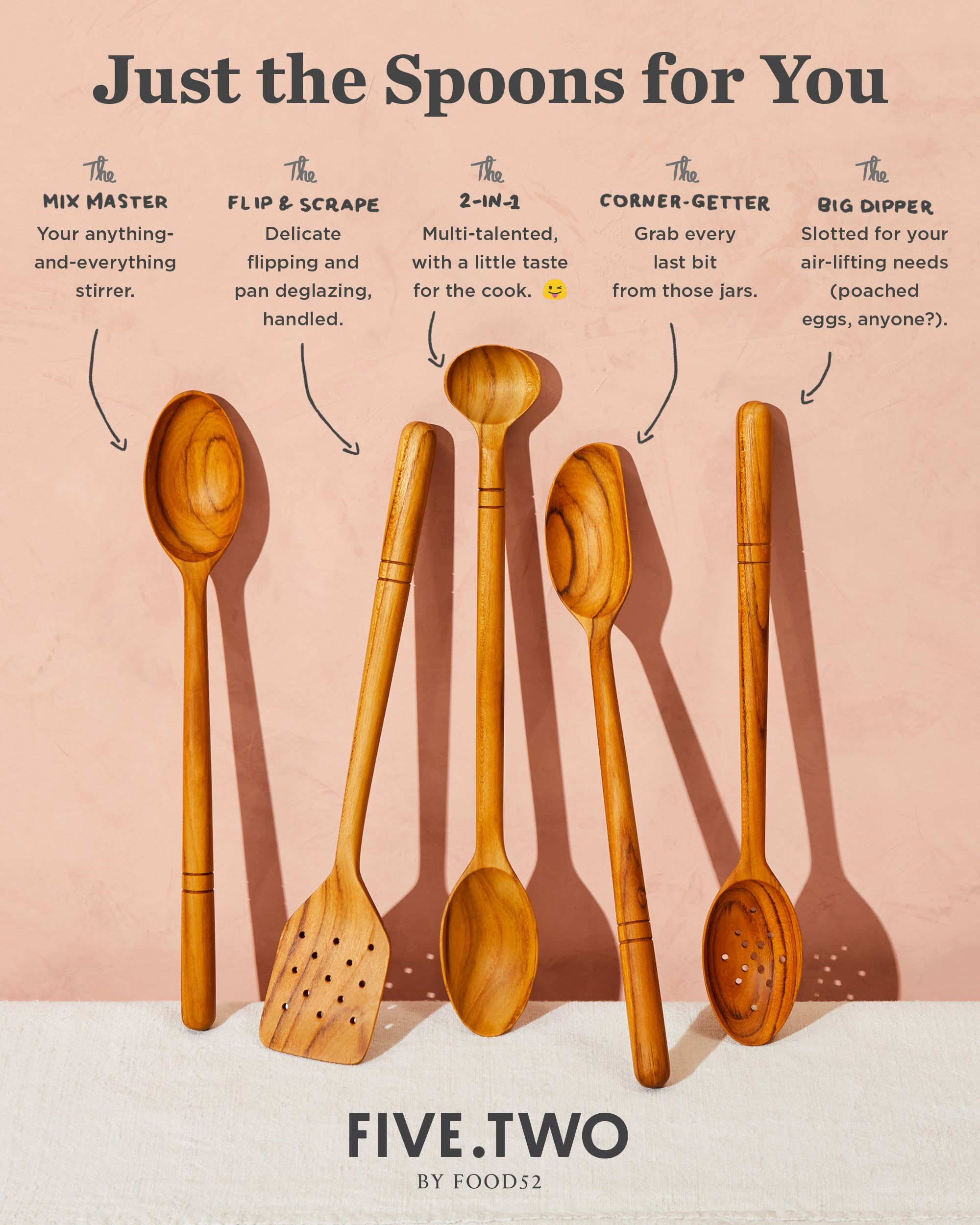 Five Two Wooden Spoons Teak Wood Kitchen Tool In 2019
