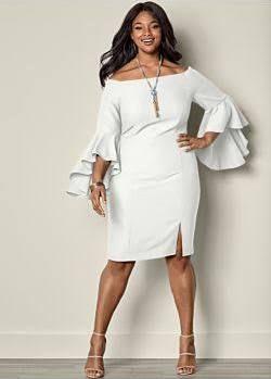 aa7da2d52be Venus Plus Size Women s Sleeve Detail Dress - White