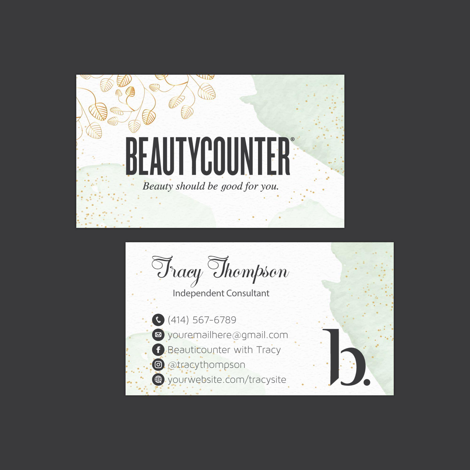 Watercolor Beautycounter Business Card Business Card Personalized Beautycounter Business Card Printable Card Bc40 Beautycounter Business Printable Business Cards Beautycounter