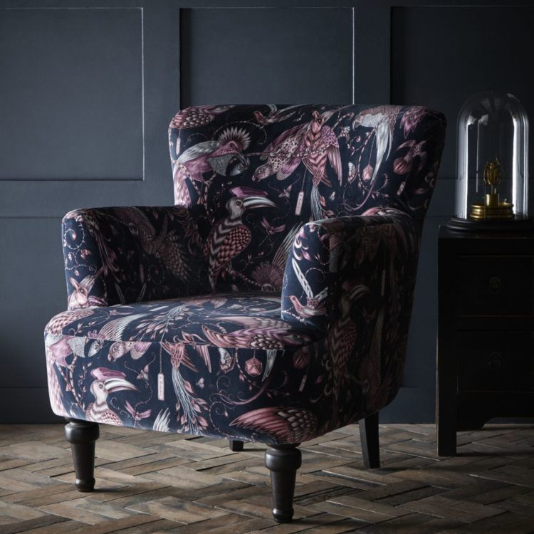 Textile Designer Emma J Shipley Collaborates With Clarke And Clarke With Images Designer Accent Chairs Upholstered Statement Chair Vintage Chairs