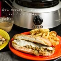 Slow Cooker Chicken & Artichoke Melts on MyRecipeMagic.com Slow cooker chicken and artichoke melts are so simple but incredibly gooey, cheesy, and tasty!