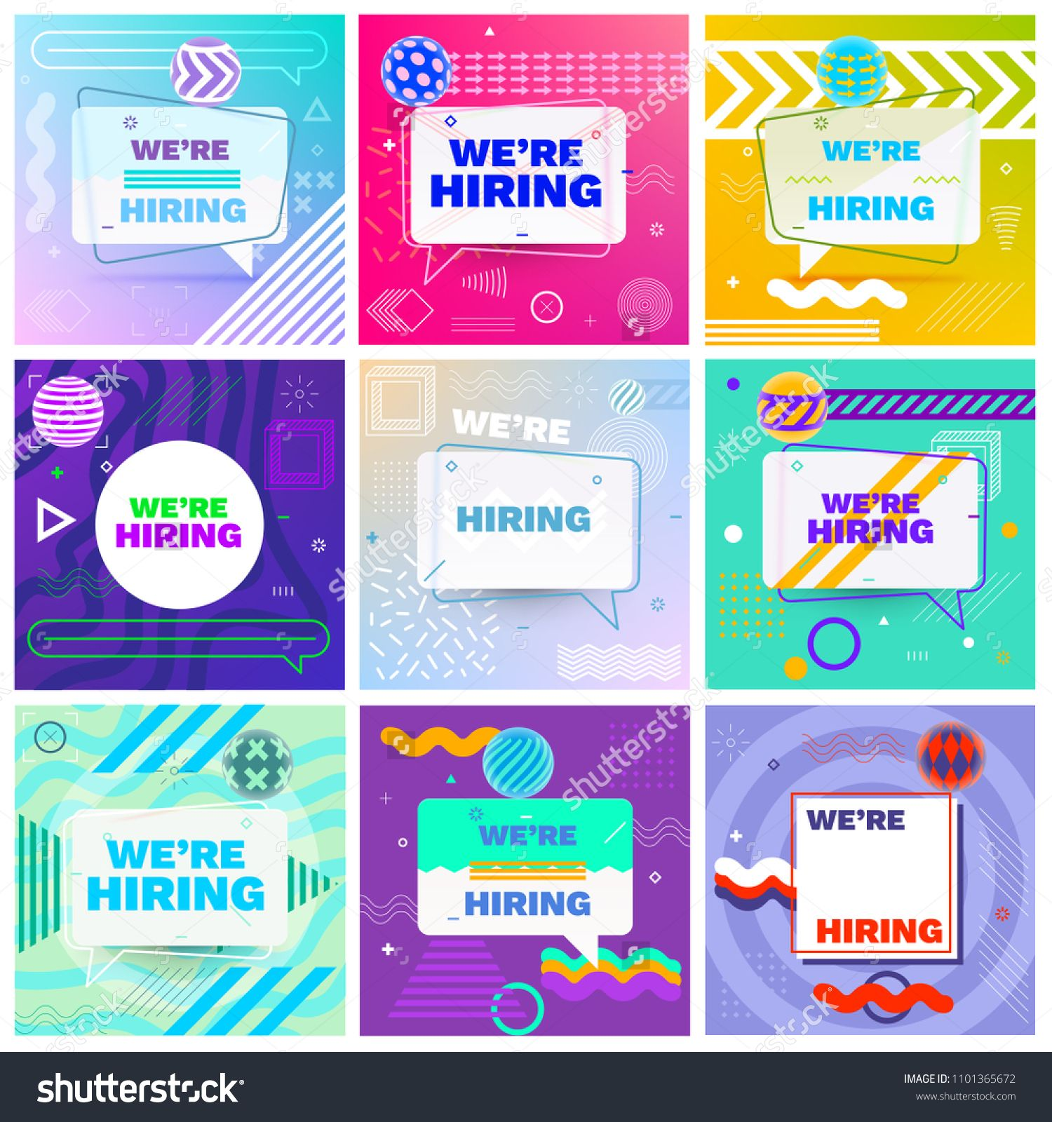We are Hiring Template, Banner Design or Poster. Set of ...