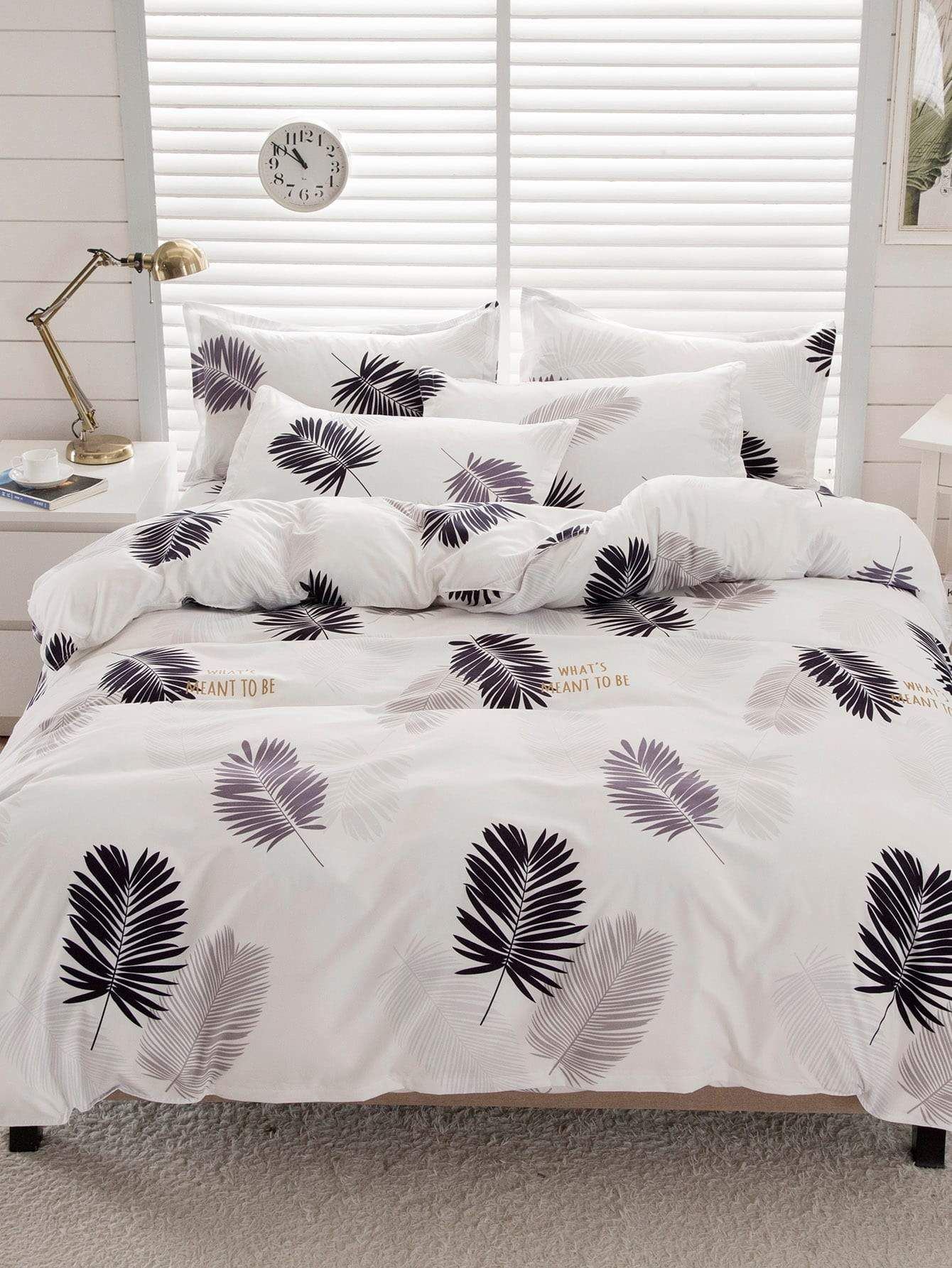 Leaf Print Pillowcase 1Pair in 2020 Bedding sets, Bed