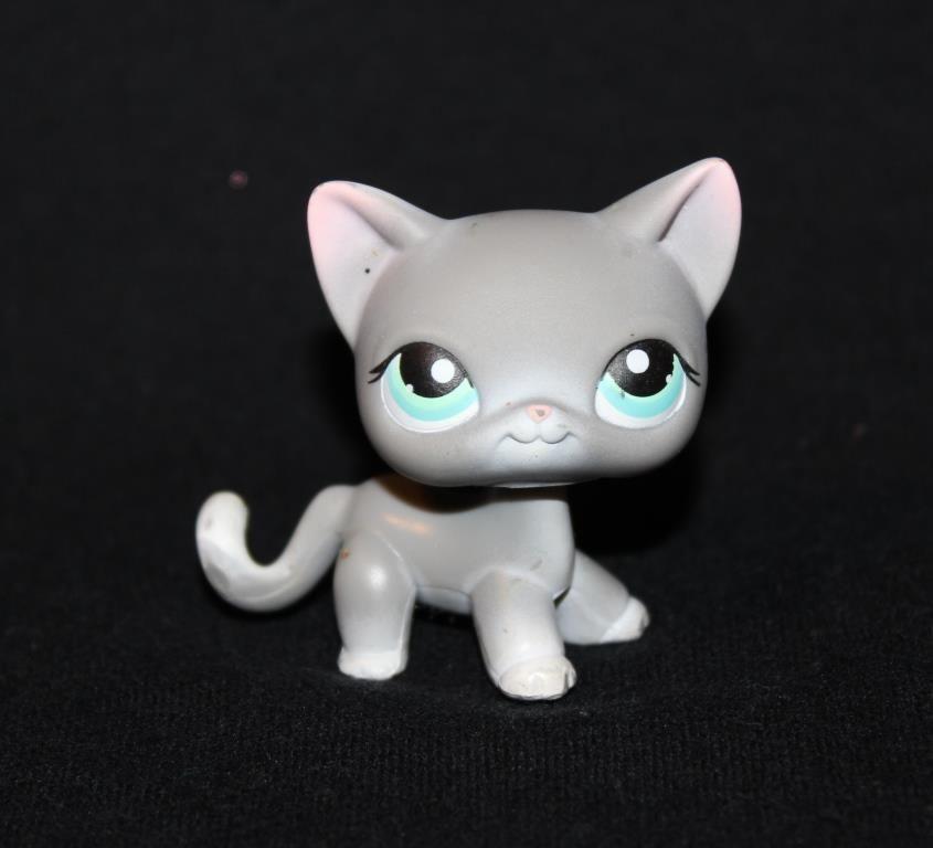 Littlest Pet Shop Lps Gray Shorthair Cat 126 Blue Green Eyes Kitten White Grey Littlest Pet Shop Blue Green Eyes Pet Shop