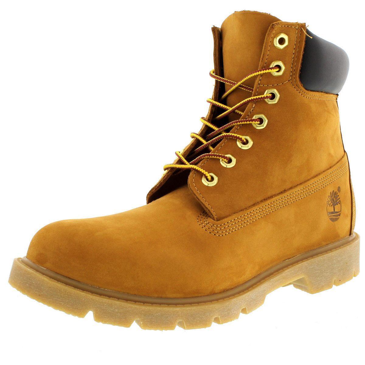 men's timberland 6 inch boots nubuck wheat white sole