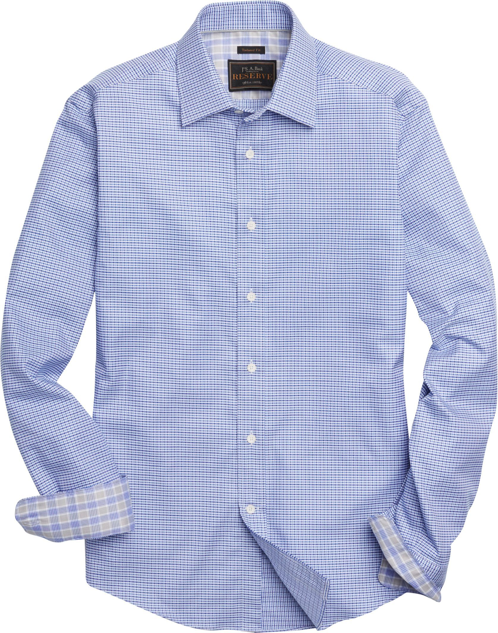 Reserve Collection Tailored Fit Spread Collar Check Sportshirt - Big & Tall