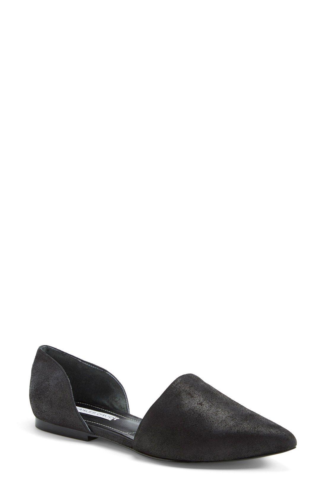 Womens Flats Charles David Womens Kitty Dorsay Flats Flats black leather Under Discount