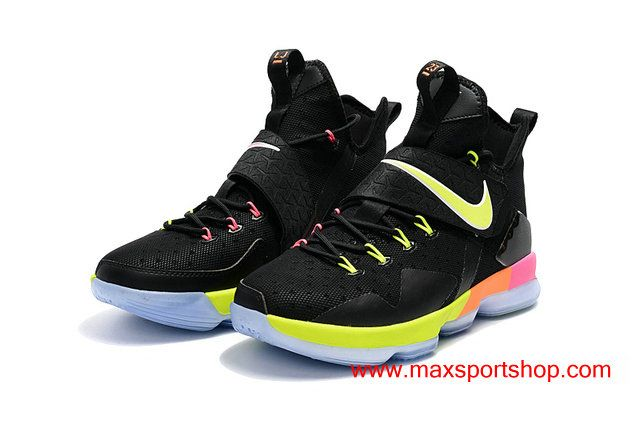 438d27a715e 2017 Nike LeBron 14 Black Rainbow Bottom Basketball Shoes For Men ...