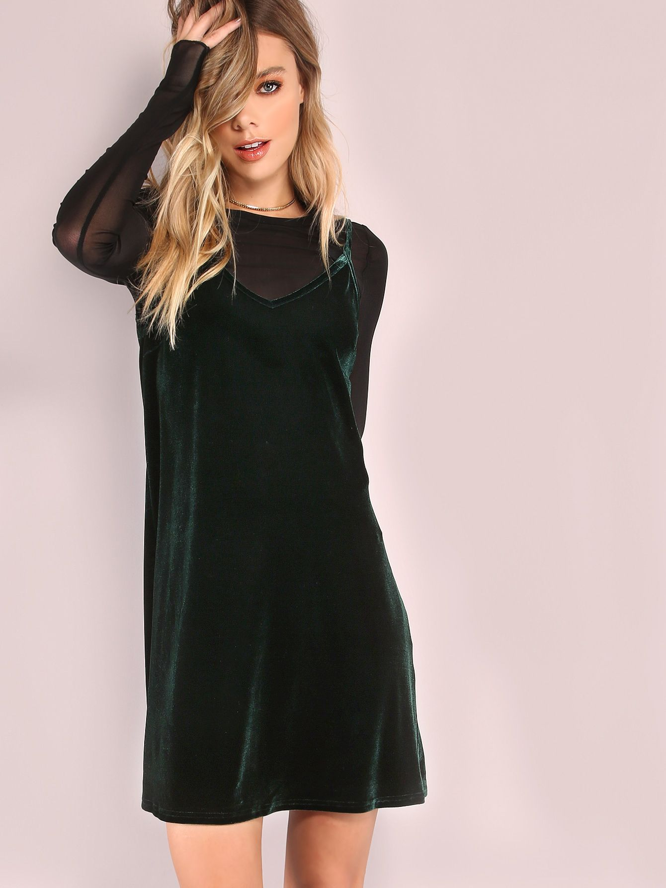 341c9197fa2b Shop Dark Green Swing Cami Dress online. SheIn offers Dark Green Swing Cami  Dress   more to fit your fashionable needs.