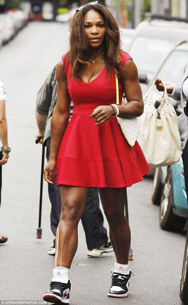 Red Hot  Serena Williams pairs dress   Jordan Air Trainer sneakers for a  shopping spree in Melbourne. 1 27 13 9b7f3f5c5c