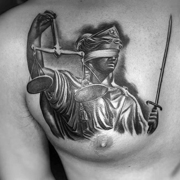 6615d782655da 40 Lady Justice Tattoo Designs For Men - Impartial Scale Ideas ...