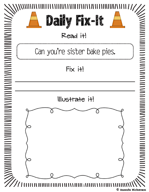 Daily Fix-It Worksheet (printable)
