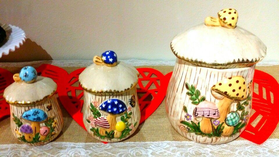 Rare Merry Mushroom Canister Set Sears And Roebuck Pastel Gold Trim Vintage Mushroom Decor Woodland Decor Vintage Housewares