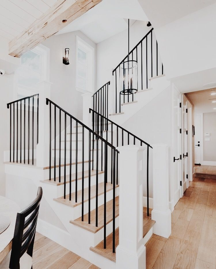 Best Absolutely Gorgeous Staircase Black Railing White Walls 400 x 300