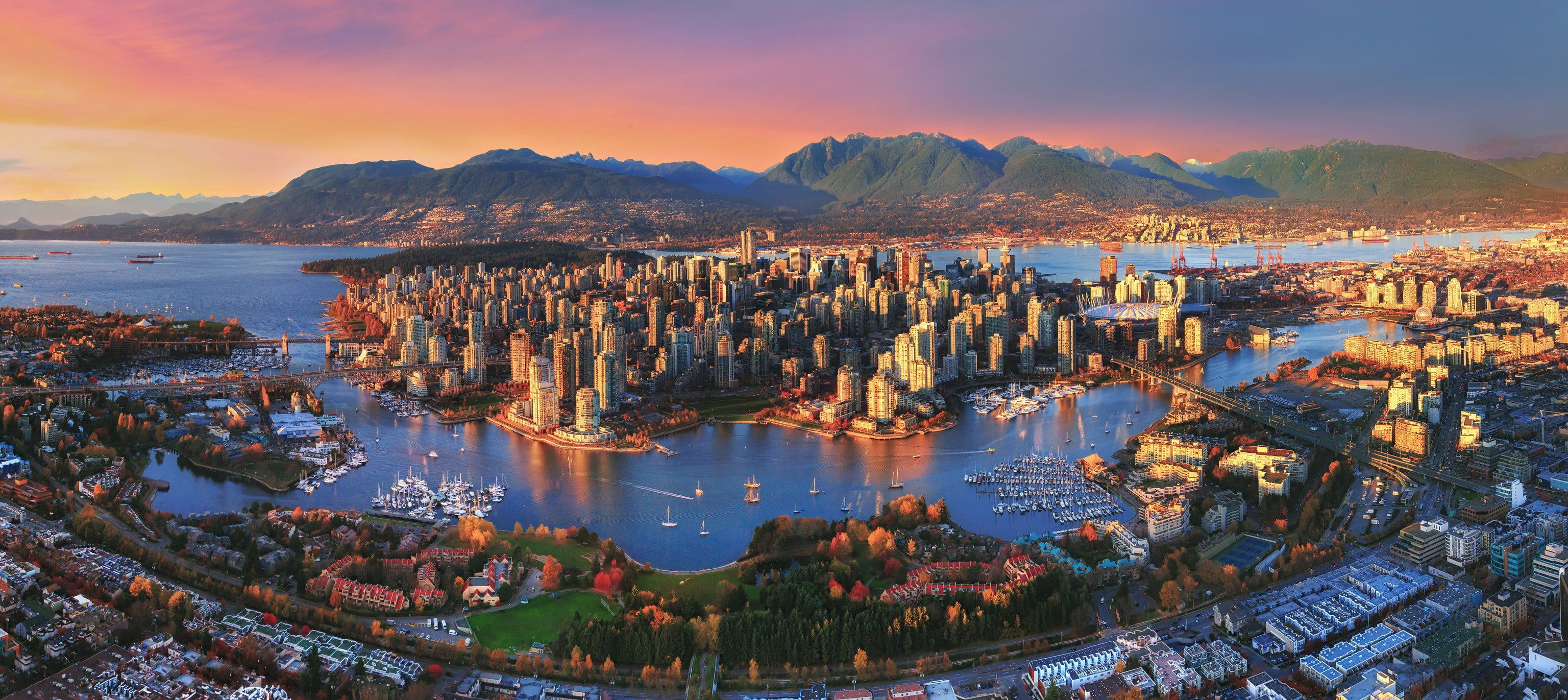 Aerial Photography Of City Vancouver Sunset City Landscape Lake Canada Cityscape Panorama 2k W Panorama Photography Vancouver Skyline Skyline Picture