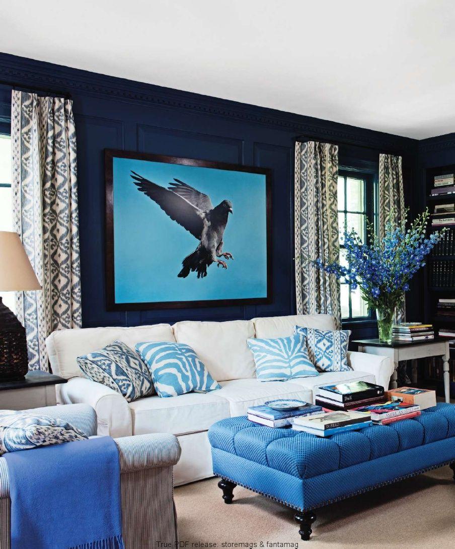 blue hues elle decor 201010  blue rooms blue living