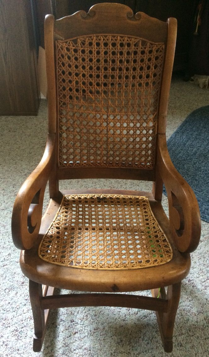 Seat Repaired On Child S Rocker Headed Back Home Today Www Calebsmeadowantiques Com Caning Seatweaving Antiques Furniture Repair Caning Antiques