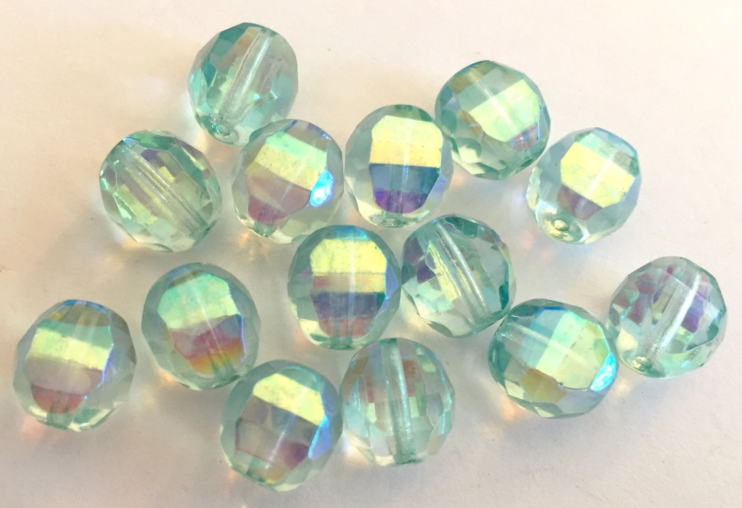 VIntage beads (8) crystal  glass  faceted Czech Aqua AB aurora borealis 10mm (8) by a2zDesigns on Etsy