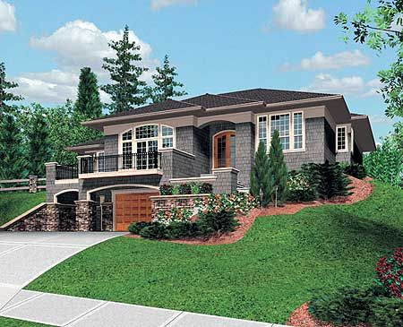 Plan 6865am for a sloping lot for Building a garage on a sloped lot
