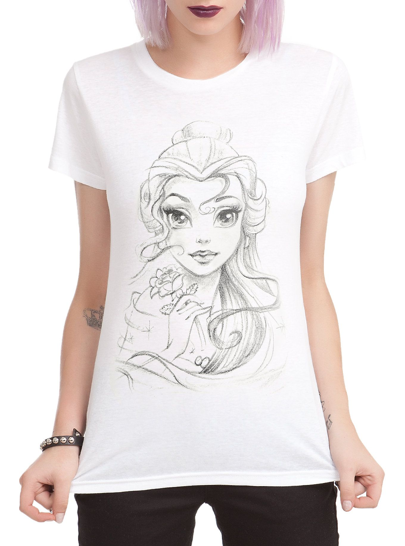03b001ee4 Disney Beauty And The Beast Belle Sketch Girls T-Shirt | My Style ...