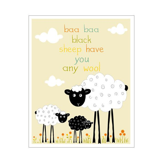 Children\'s Wall Art / Nursery Decor Baa Baa Black Sheep Have You Any ...