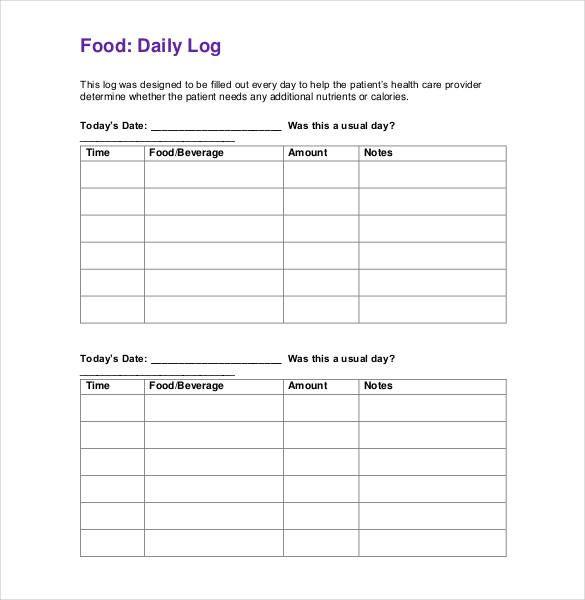 Food Log Templates | 16+ Free Word, Excel U0026 PDF Formats