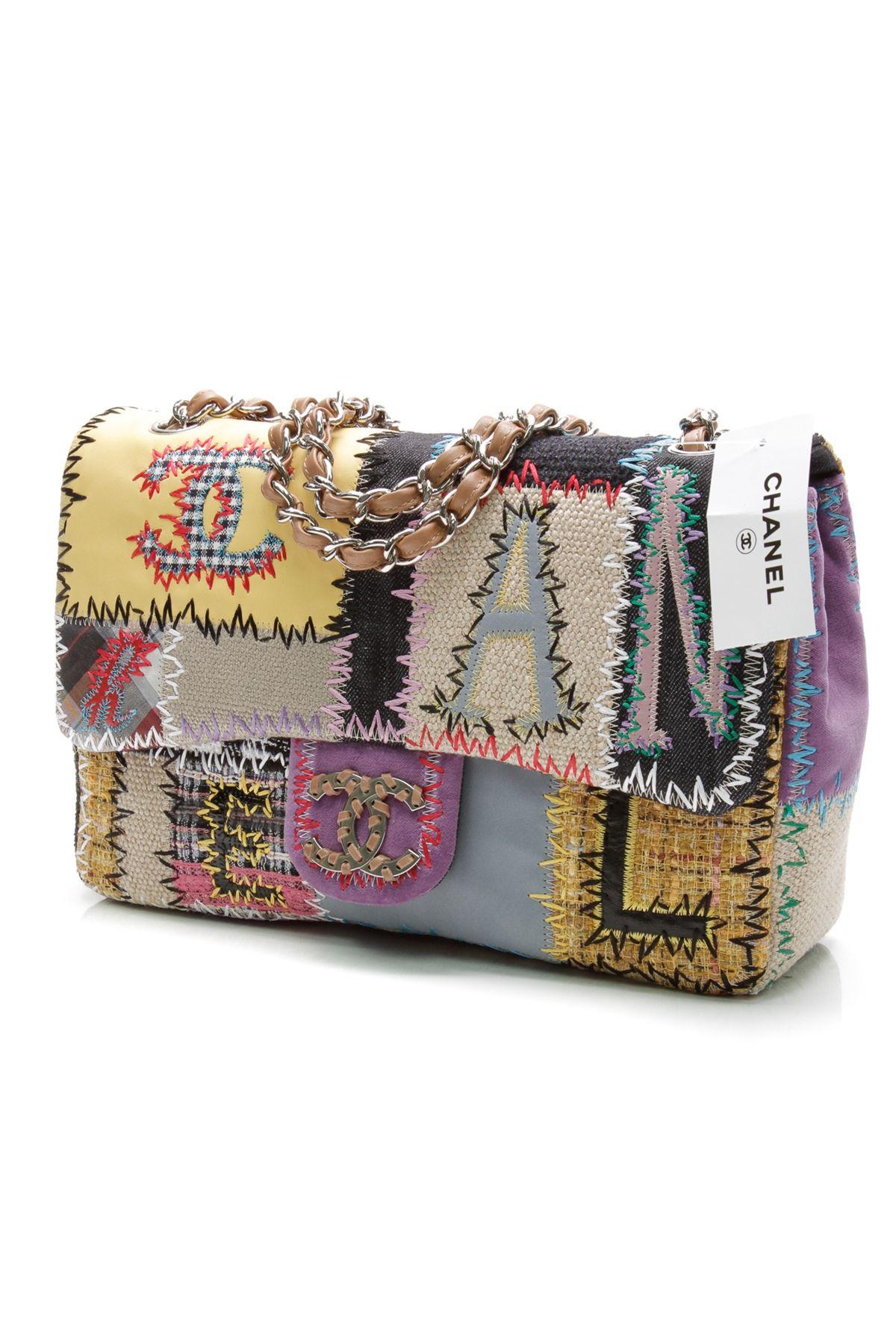 e0b31f230b86 Chanel multi colour patchwork jumbo classic flap bag. | House of ...