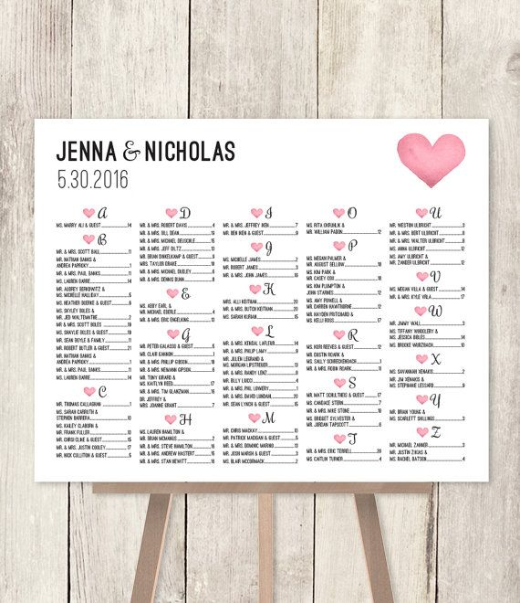 Alphabetical seating chart sign diy wedding pink watercolor heart find your seat printable poster pdf customized also rh pinterest