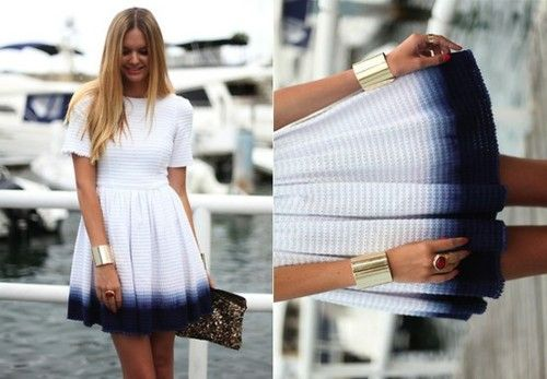 Adorable hemline on simple blue and white dress